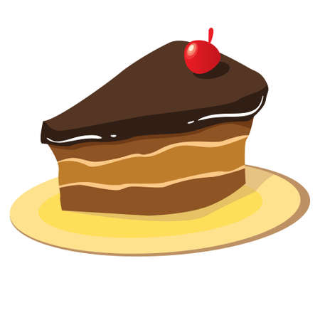 chocolate slice: Vector illustration of a chocolate cake slice on a plate isolated on white Illustration
