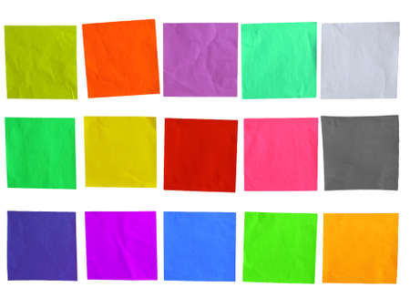 Blank sticky colored paper template isolated on white photo