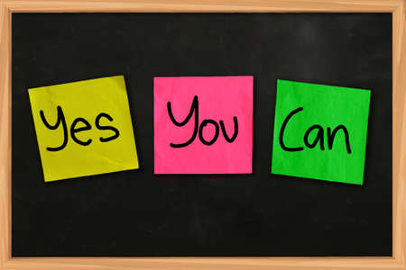 yes you can: Motivational concept said Yes You Can written on sticky colored paper