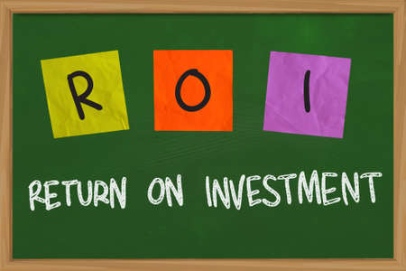 Business concept of Return on Investment written on sticky colored paper photo