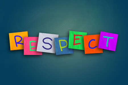 respect: The word Respect written on sticky colored paper Stock Photo