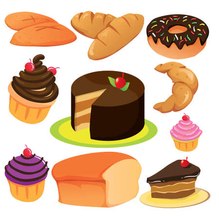Vector illustration of cakes and breads collection isolated on white Vector
