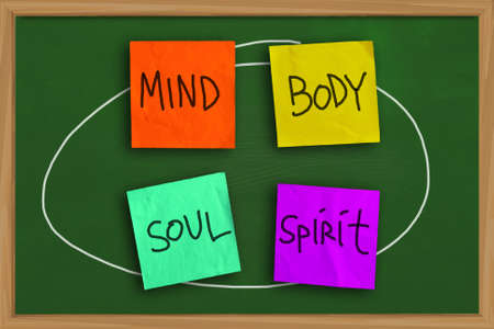 personal growth: Motivational concept of Mind Body Soul Spirit written on colored sticky paper Stock Photo