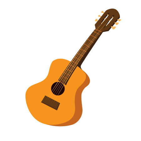 Vector illustration of an acoustic guitar in cartoon style Illustration
