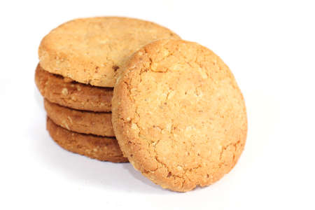 oatmeal cookie: Image of whole wheat biscuits on white background