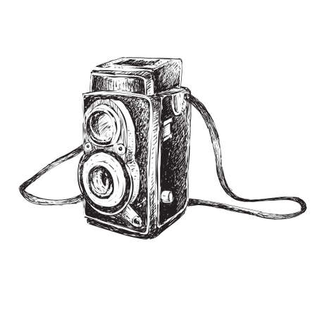 Vector illustration of retro camera in doodle style