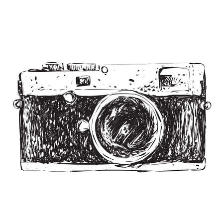 camera: Vector illustration of retro camera in doodle style
