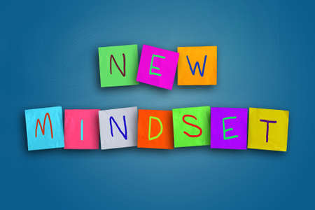 The words New Mindset written on sticky colored paper