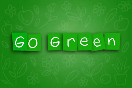 colored paper: The words Go Green written on sticky colored paper