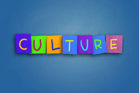 colored paper: The word culture written on sticky colored paper Stock Photo