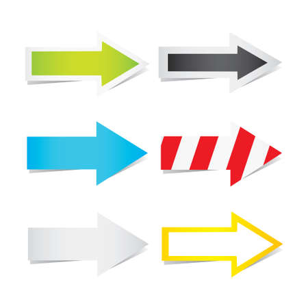 variation: Vector illustration of yellow arrows in many variation
