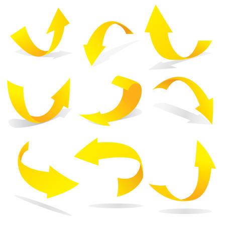 flechas curvas: Ilustración vectorial de flechas amarillas en muchas posiciones Vectores