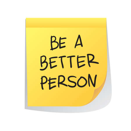 sticky paper: Motivational concept vector illustration of sticky paper with Be a Better Person words written on it Illustration