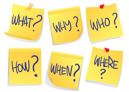 Illustrazione vettoriale di carte adesive con le parole di domanda su di esso dire cosa dove quando chi come e perché isolati su bianco Vettoriali