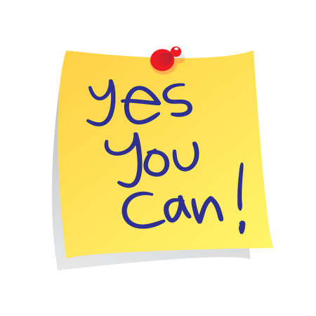 possibility: Motivational concept vector illustration of sticky paper with yes you can words written on it