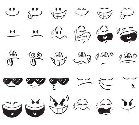 Vector illustration of cartoon face expressions in doodle style Vettoriali