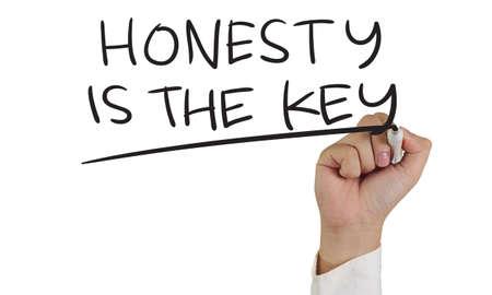 valores morales: Concepto de imagen Relación de un marcador de explotación de la mano y escribir honestidad es las palabras clave aislados en blanco