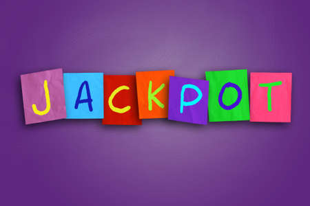 colored paper: The word Jackpot written on sticky colored paper