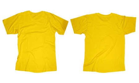 Wrinkled blank yellow t-shirt template, front and back design isolated on white