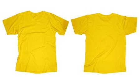 Gerimpelde lege gele t-shirt sjabloon, voor- en achterkant ontwerp geïsoleerd op wit