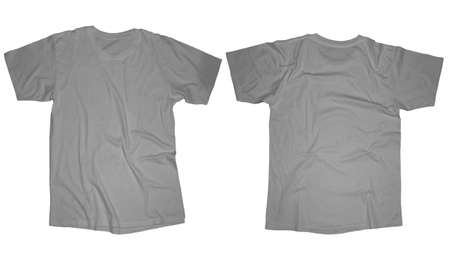 t shirt template: Wrinkled blank grey t-shirt template, front and back design isolated on white