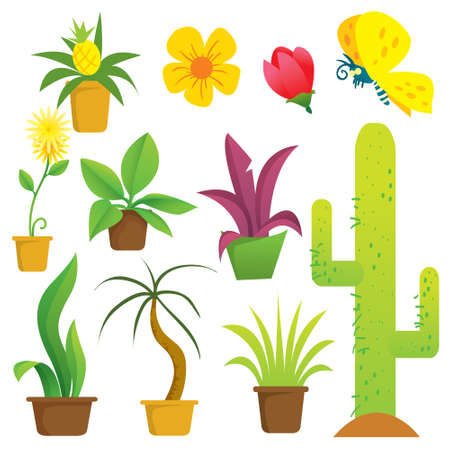 potted plant cactus: Vector illustration of potted plants in cartoon style Illustration