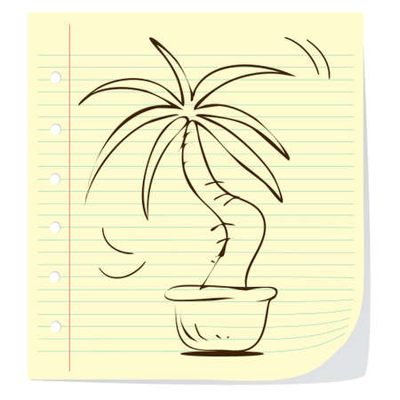 potted plant: illustration of potted plant in doodle style