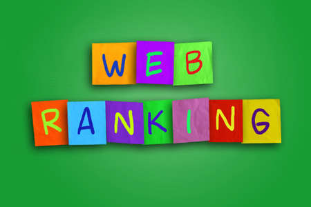 optimizer: Internet concept image of the word Web Ranking written on sticky colored paper