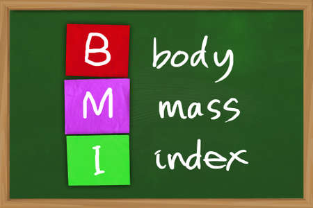 bmi: Health concept image of BMI body mass index written on colored paper over green chalkboard