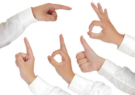 long sleeved: Gesture of hand showing thumb up, thumb up, pointing, OK sign and number one in formal long sleeved shirt isolated on white