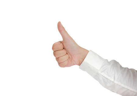 long sleeved: Gesture of hand showing thumb up in formal long sleeved shirt isolated on white Stock Photo