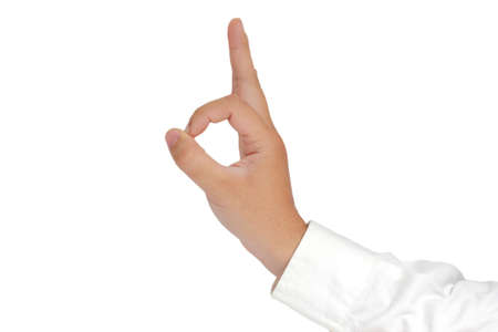 sleeved: Gesture of hand showing OK sign with fingers in formal long sleeved shirt isolated on white