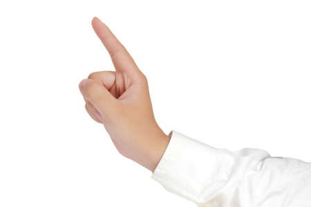 long sleeved: Gesture of hand from side view showing number one with fingers in formal long sleeved shirt isolated on white Stock Photo