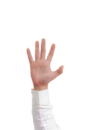 long sleeved: Gesture of hand showing number five with fingers in formal long sleeved shirt isolated on white Stock Photo
