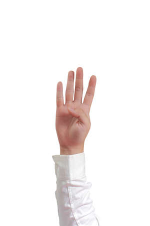 long sleeved: Gesture of hand showing number four with fingers in formal long sleeved shirt isolated on white