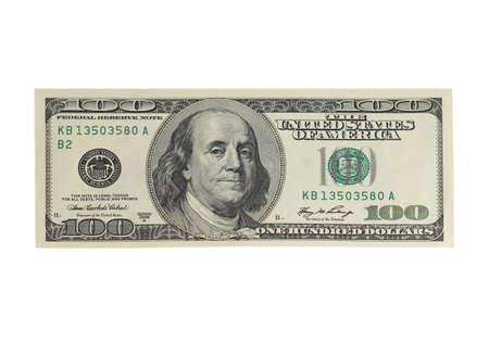 Het conceptenbeeld van het succes van 100 Dollarrekening die op wit wordt geïsoleerd