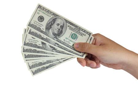 Beeld van de hand houden van 100 dollar biljetten op wit wordt geïsoleerd Stockfoto