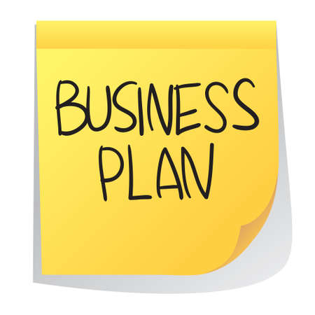 sticky paper: Business concept illustration of sticky paper with Business Plan words written on it Illustration