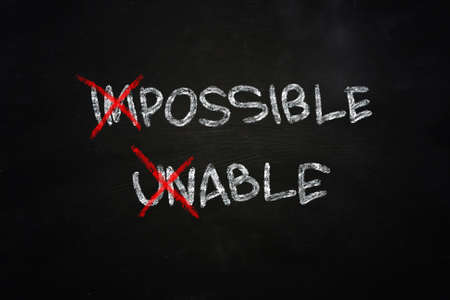 able: Business motivational concept the words Possible and Able written with chalk on blackboard