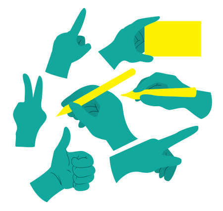 marker pen: Vector illustration of Human Palms in different positions, cartoon style, isolated on white background