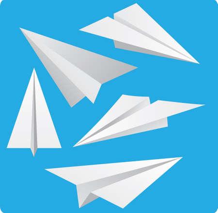 青色の背景の漫画のスタイルで紙飛行機のベクトル イラスト