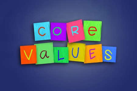 The words Core Values written on sticky colored paper Foto de archivo