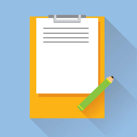 test paper: Vector illustration of single Test Paper and Pencil on Clipboard flat icon in blue square background with diagonal shadow