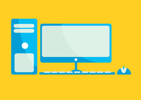 mainboard: Vector illustration set of desktop computer flat icon in yellow square background with diagonal shadow