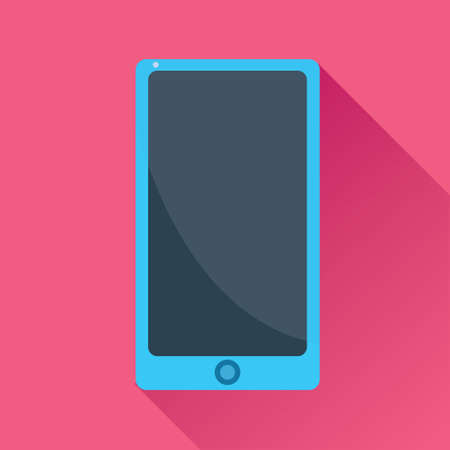 touch screen phone: Vector illustration of a single touch screen smart phone flat icon in pink square background with diagonal shadow Illustration