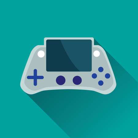 portable console: Vector illustration of single Portable Game Console flat icon in turquoise square background with diagonal shadow Illustration