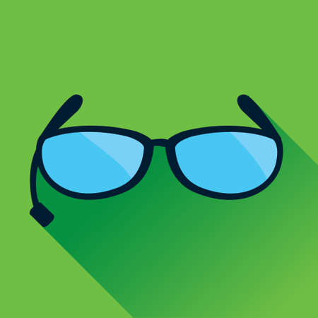 eyewear: Vector illustration of single Sunglasses Flat Icon in green square background with diagonal shadow
