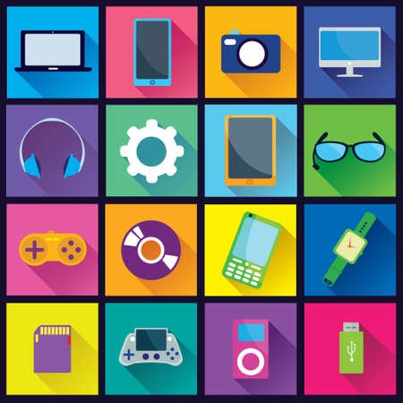 Collection of Gadget Flat Icons in colorful square background with diagonal shadow