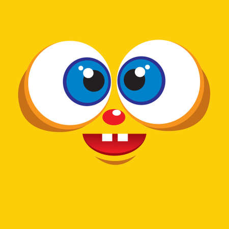 monster face: Cute smiling monster face avatar in yellow color