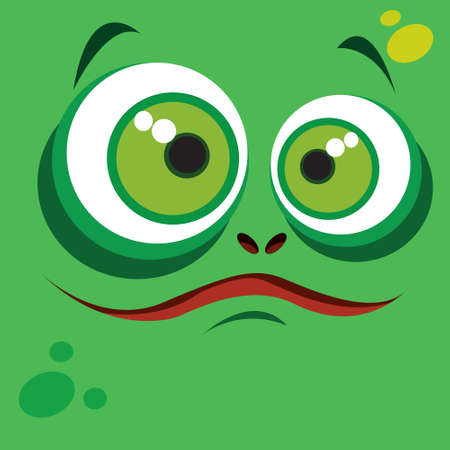 Cute smiling monster face avatar in green color Vector